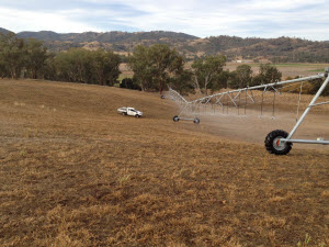 Reinke Strong Pivot on Hill Aquanorth's expertise provides irrigation solutions, no matter the terrain