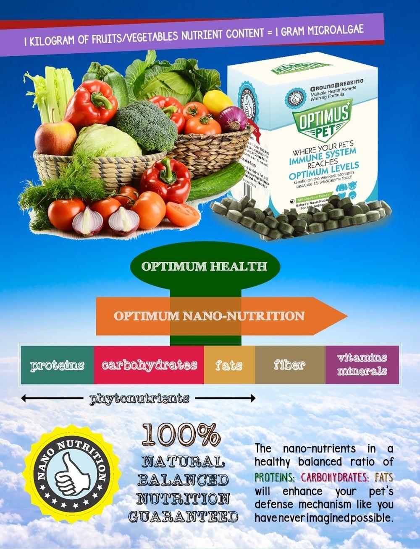 1 Kg of fruits/vegetables nutrient content = 1 gram micro algae