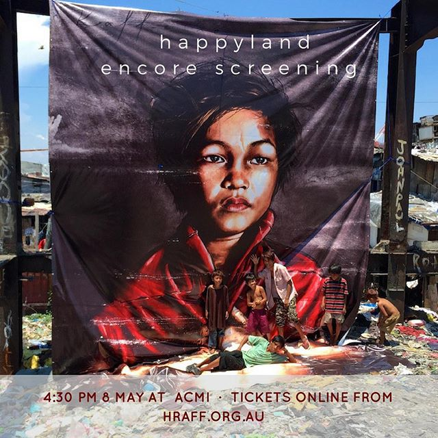 ENCORE! For those who missed out on the sold-out premiere of Happyland, join us at the encore screening on 8 May. Tickets via bio link above!  Proudly part of @humanrightsfest 2017 #philippines #kaffeine #streetart #hraff2017 #australia @kaffeinepaints @martidesu @geloyconcepcion @gericcruz