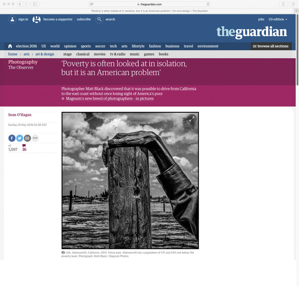 The Guardian, UK, The Geography of Poverty, May 29, 2016 https://www.theguardian.com/artanddesign/2016/may/29/matt-black-photography-poverty-geography-california-us-sean-ohagan