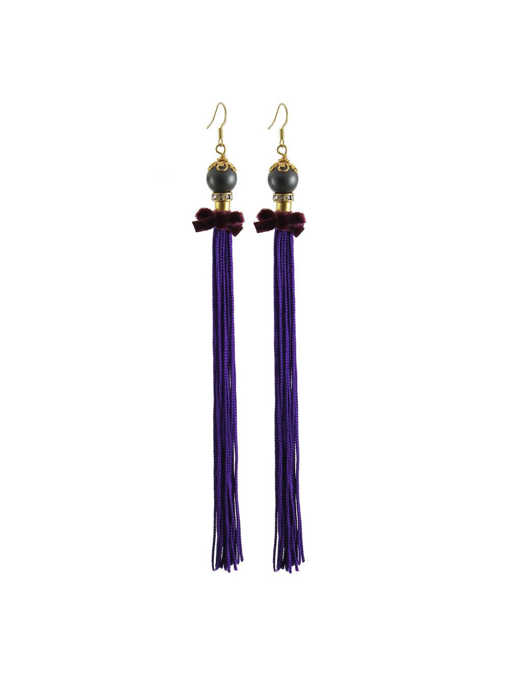 067P - Pearl & Tassel Earrings - Purple.jpg