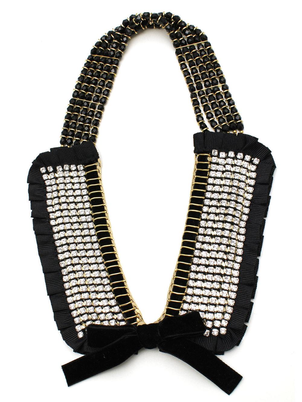 064 - Black Ruffle Crystal Collar.jpg