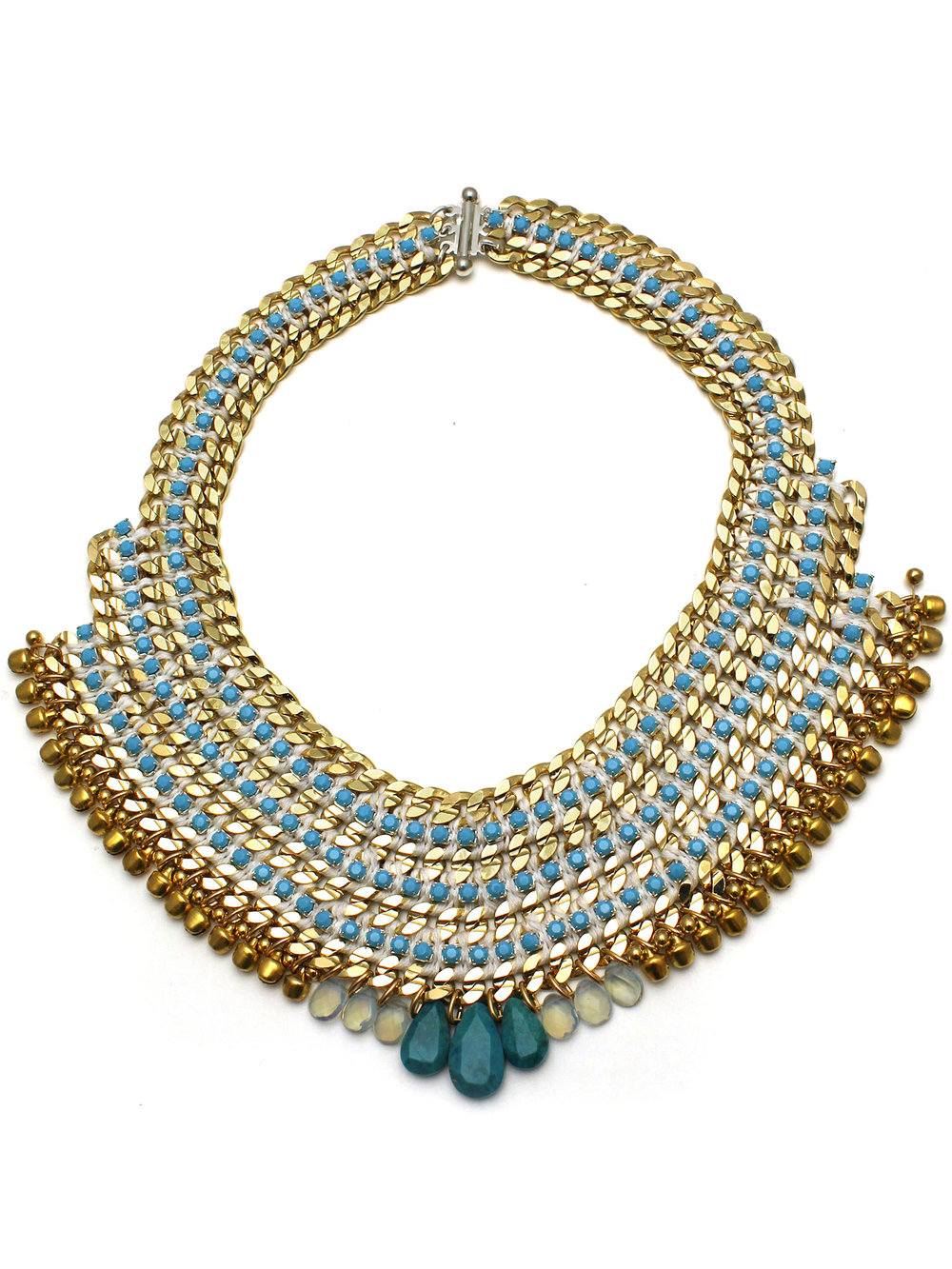 078 Turquoise & White Bell Necklace.jpg