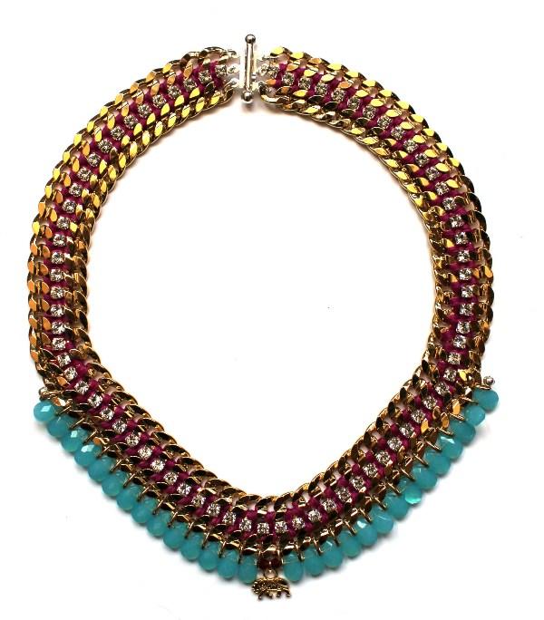 090 Turquoise & Crystal Elephant Charm Necklace.jpg