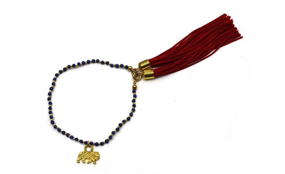 095L Red Tassel Charm Bracelet - Lapis.jpg