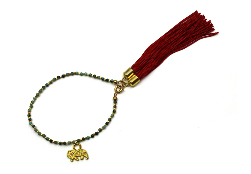 095T Red Tassel Charm Bracelet - Turquoise.jpg