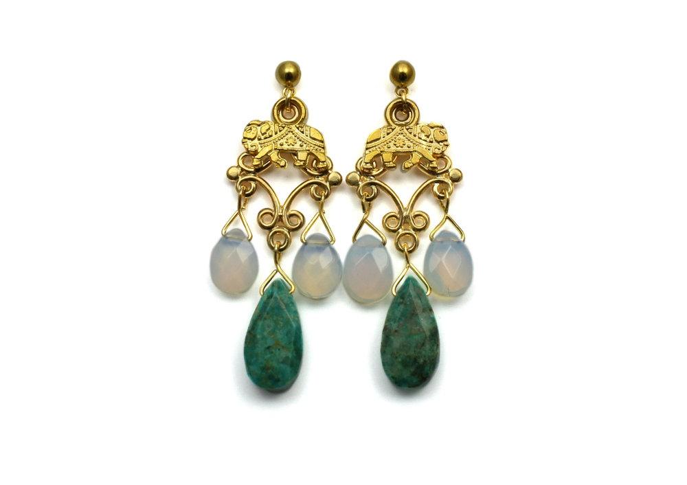 105 Turquoise & White Opal Chandelier Earrings.jpg