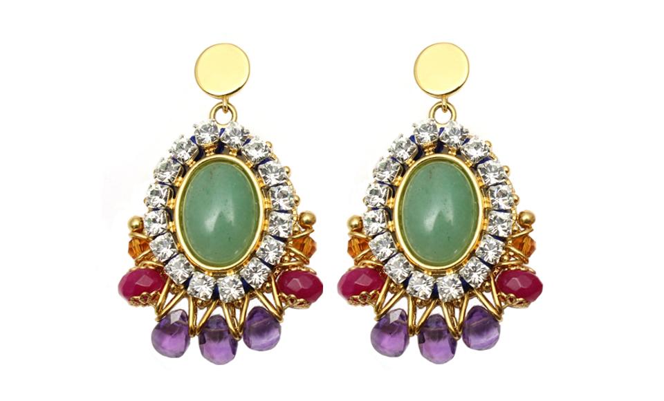 099G Gemstone & Crystal Stitched Earrings - Green.jpg