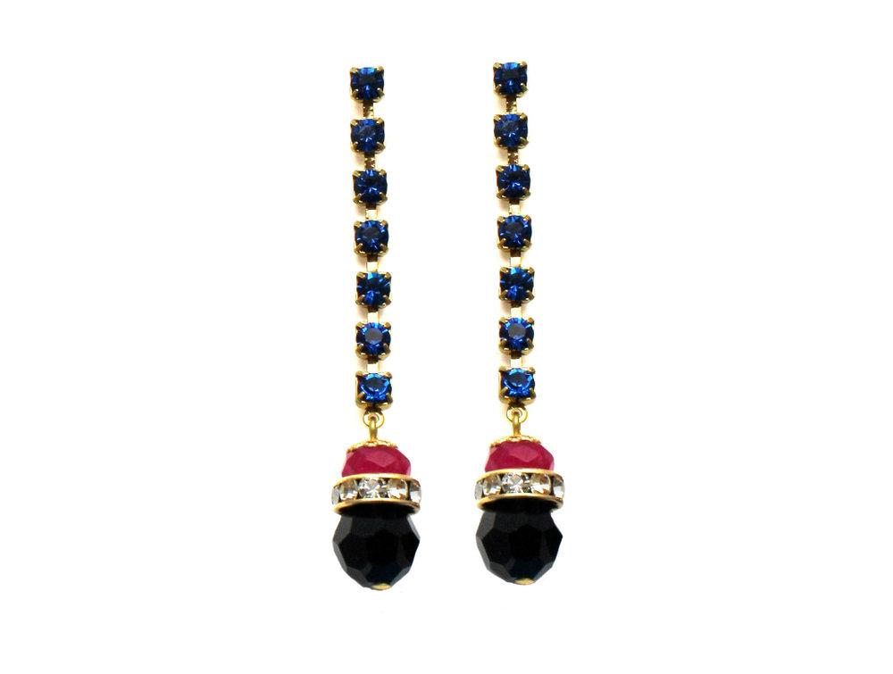 100PB Gemstone & Crystal Drop Earrings - PinkBlack.jpg
