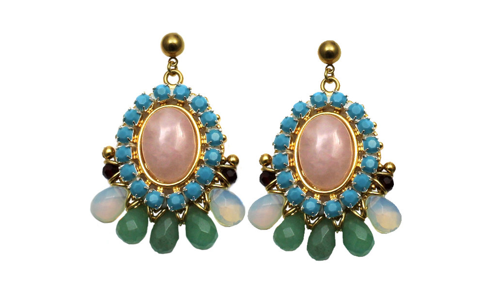 099R Gemstone & Crystal Stitched Earrings - Rose.jpg