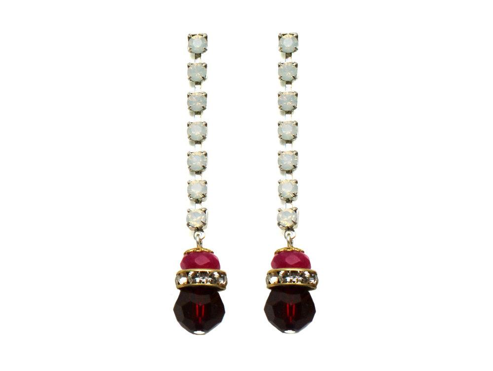 100PR Gemstone & Crystal Drop Earrings - PinkRed.jpg
