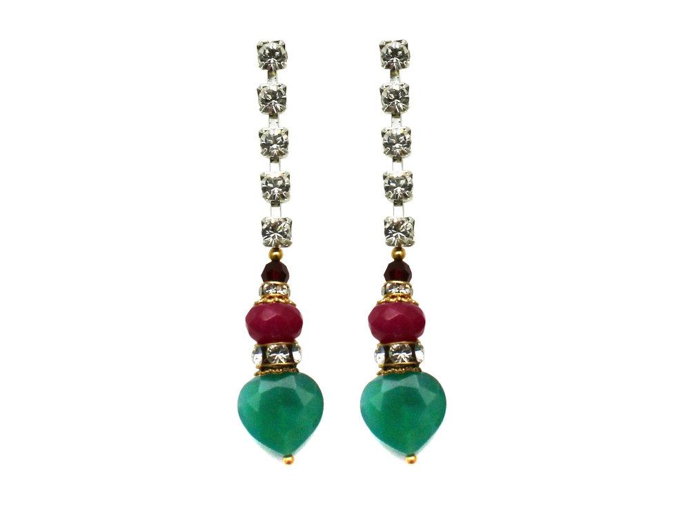 100PG Gemstone & Crystal Drop Earrings - PinkGreen.jpg