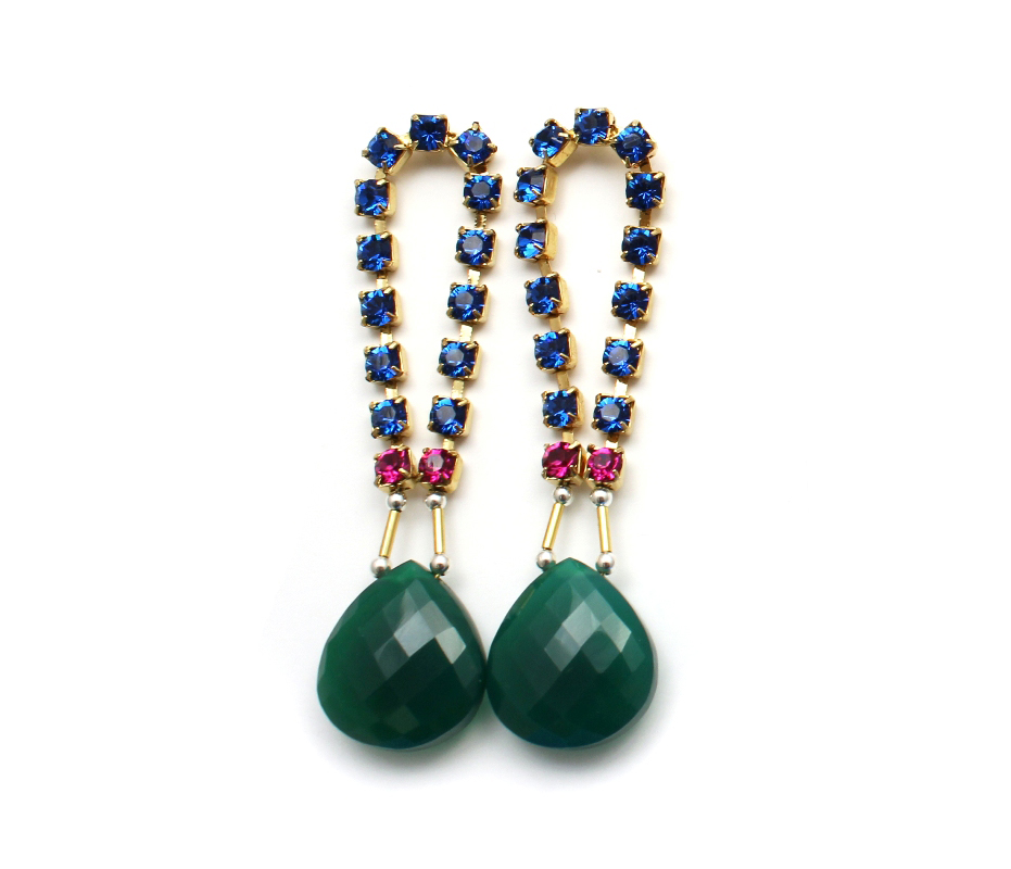 101G Gemstone & Crystal Loop Earrings - Green.jpg