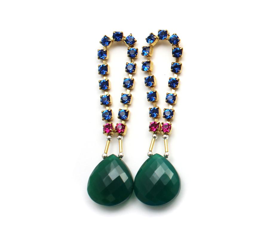 101G Gemstone & Crystal Loop Earrings - Green.jpg