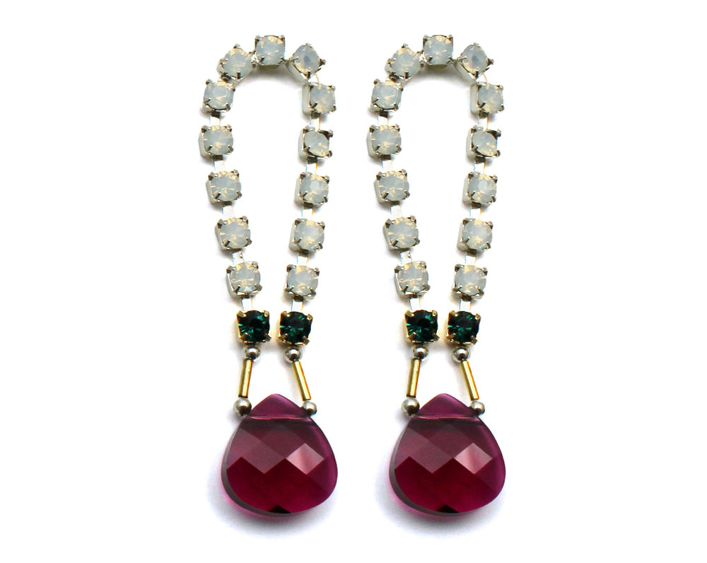 101R Gemstone & Crystal Loop Earrings - Ruby.jpg