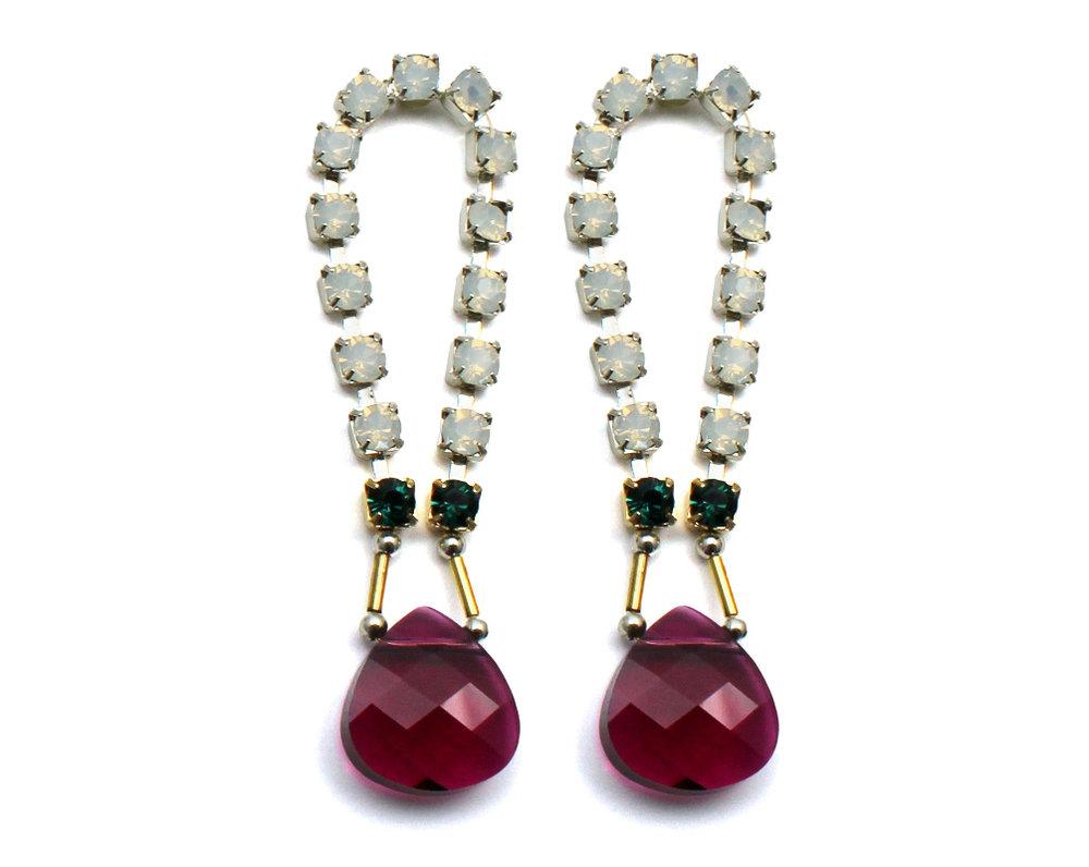 101R Gemstone & Crystal Loop Earrings - Ruby.jpg