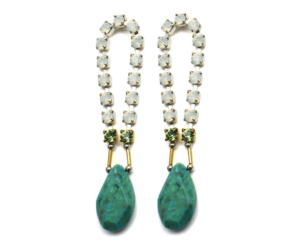 101T Gemstone & Crystal Loop Earrings - Turquoise.jpg