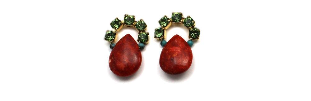 102 Peridot & Red Coral Earrings.jpg