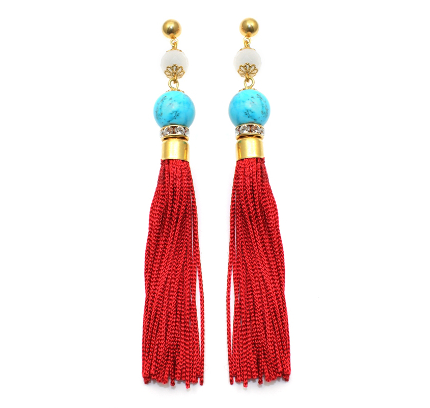 103 Turquoise & Red Tassel Earrings.jpg