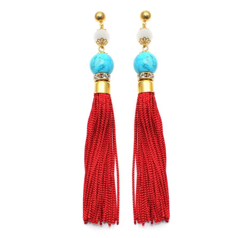 103 Turquoise & Red Tassel Earrings.jpg