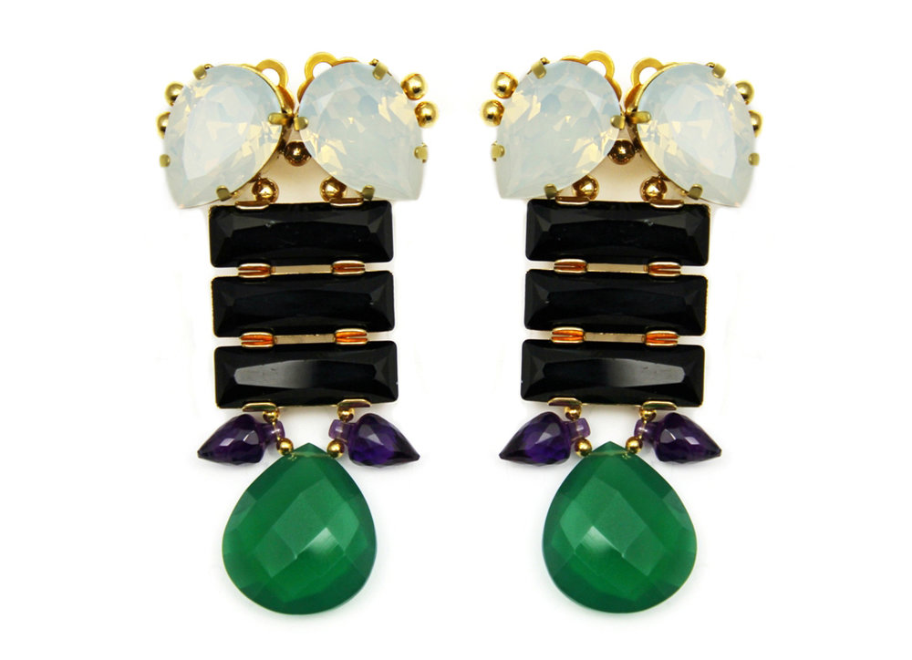 130BG - Long Spiked Teardrop Earrings (BlackGreen).jpg