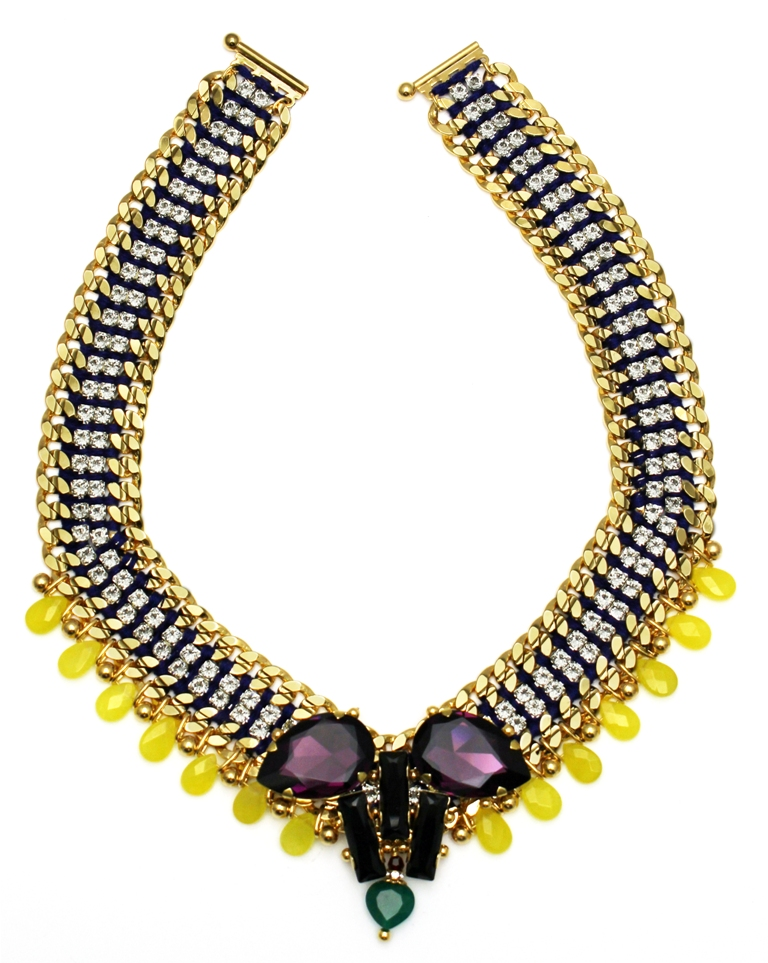 112 - Yellow Teardrop Embellished V Necklace.jpg