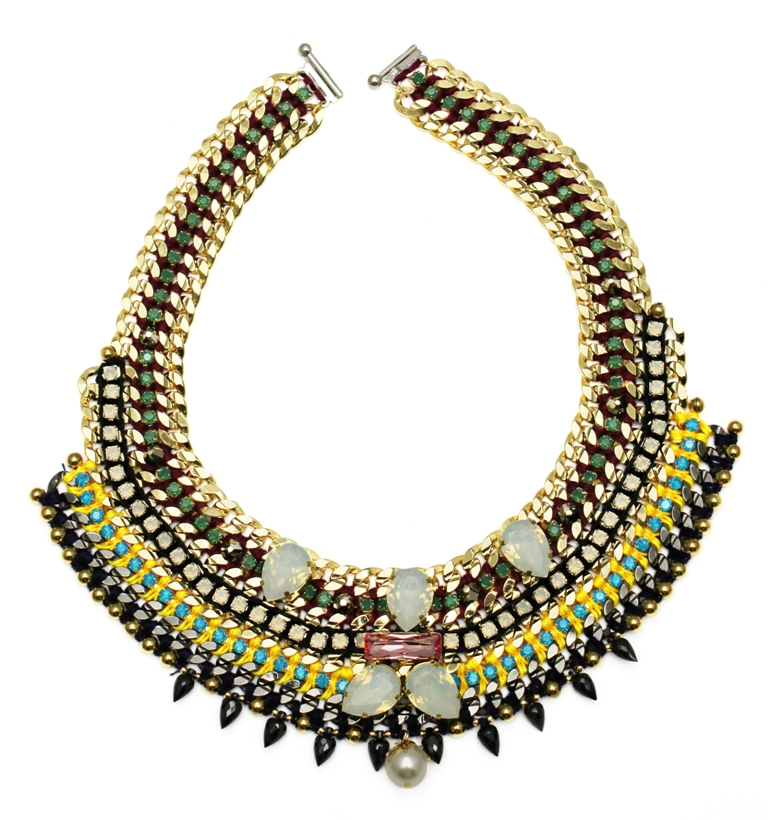 115 - Midnight Tropic Embellished Spiked Bib Necklace.jpg