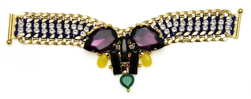 121 - Yellow Teardrop Embellished V Bracelet.jpg