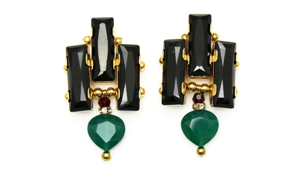 126G - Deco Drop Earrings (BlackGreen).jpg