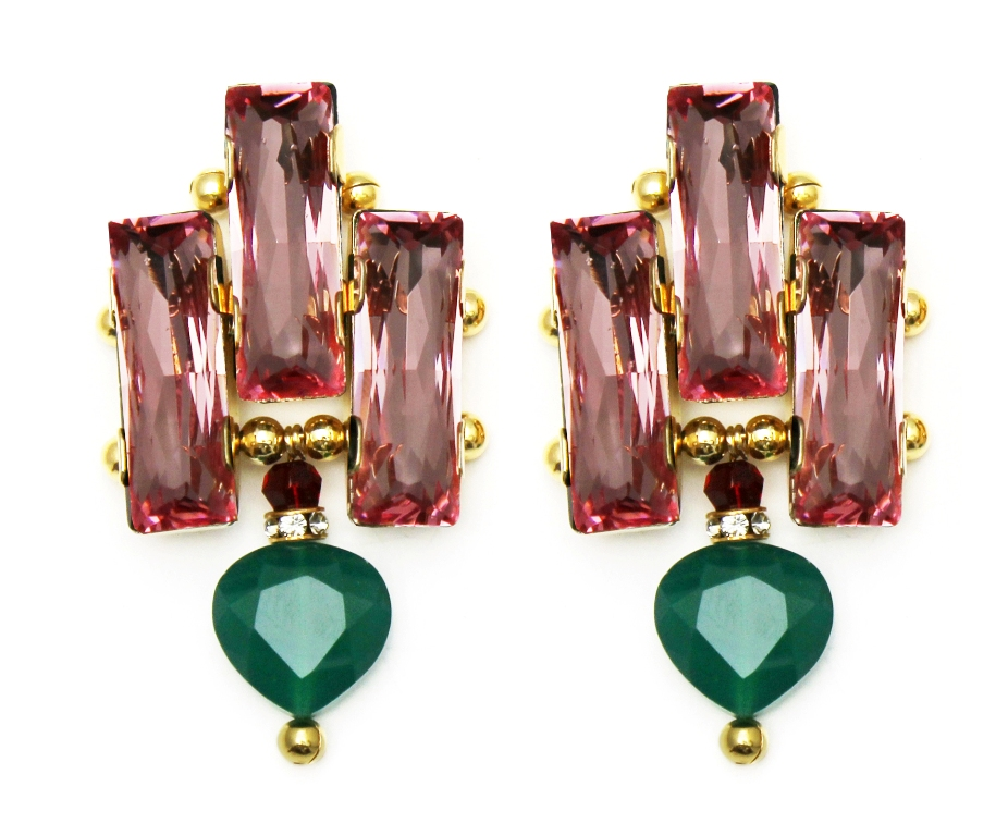 126PG - Deco Drop Earrings (PinkGreen).jpg