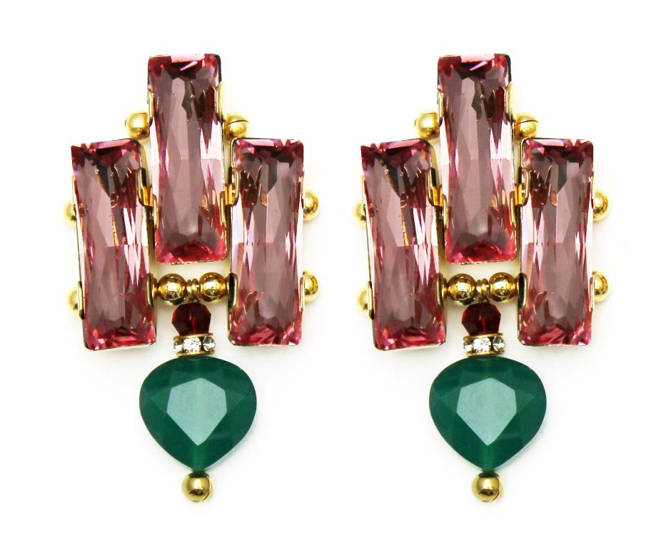 126PG - Deco Drop Earrings (PinkGreen).jpg