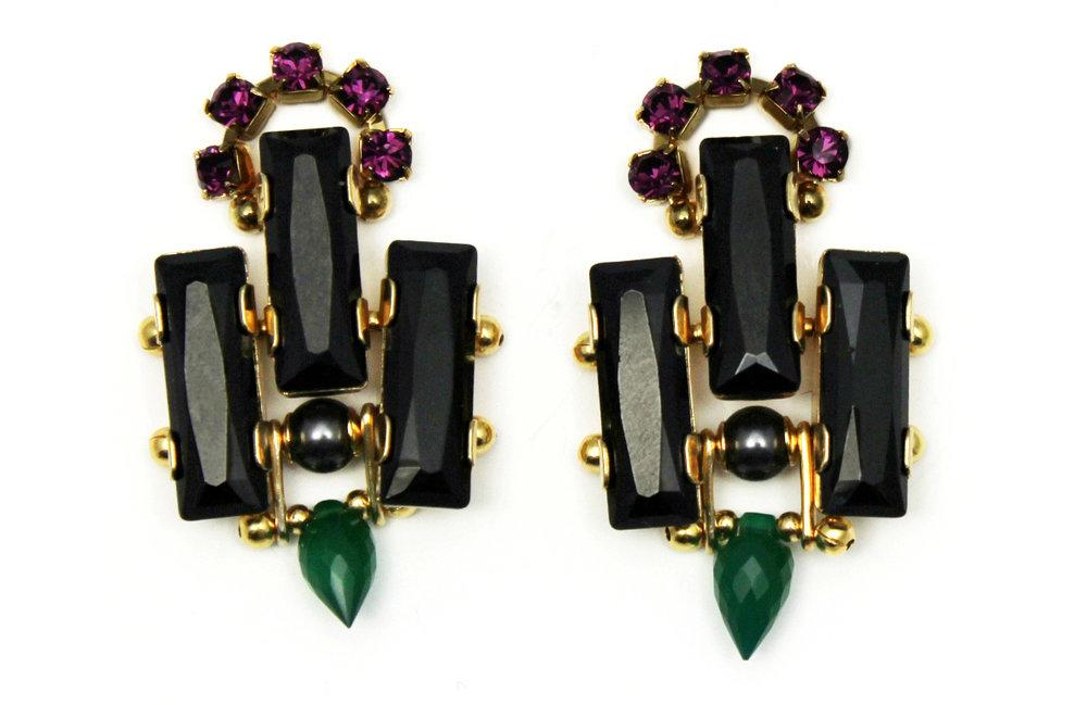127B - Deco Spiked Earrings (BlackGreen).jpg