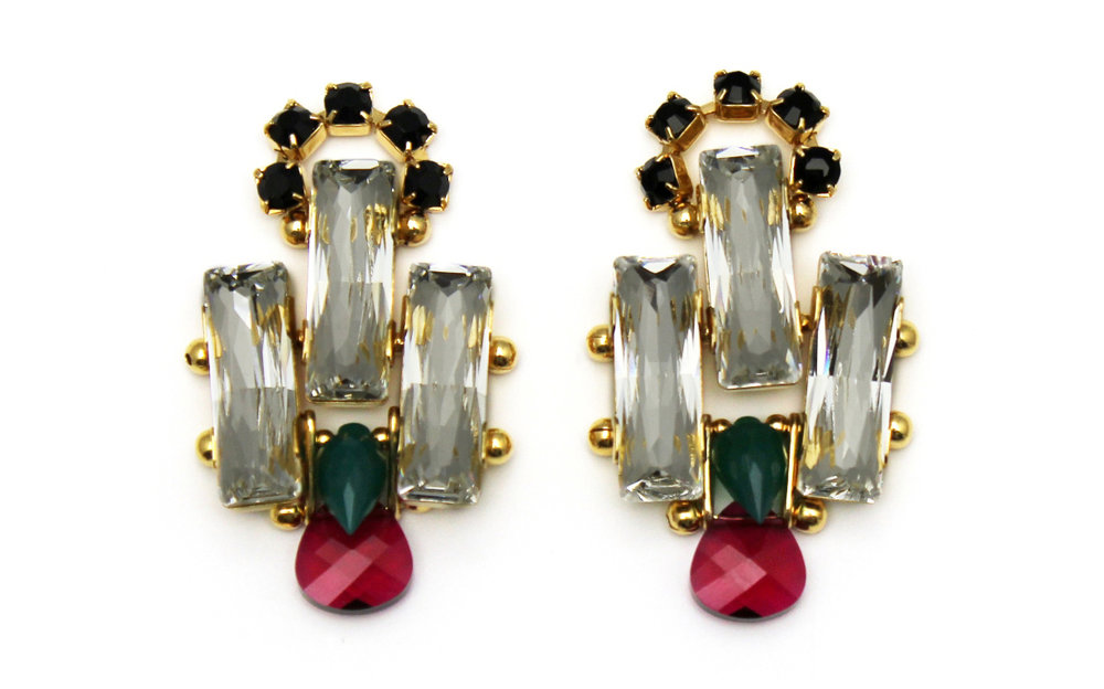 127C - Deco Spiked Earrings (CrystalRuby).jpg