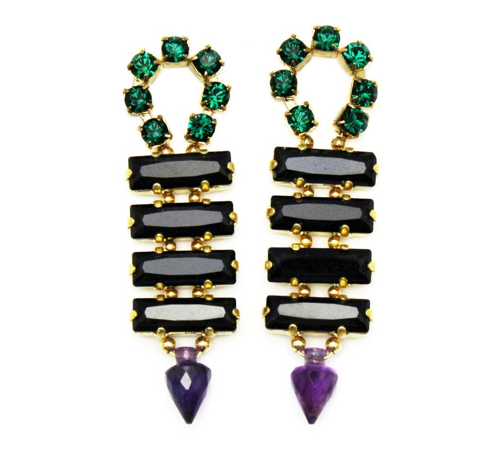 128B - Long Spiked Earrings (BlackPurple).jpg