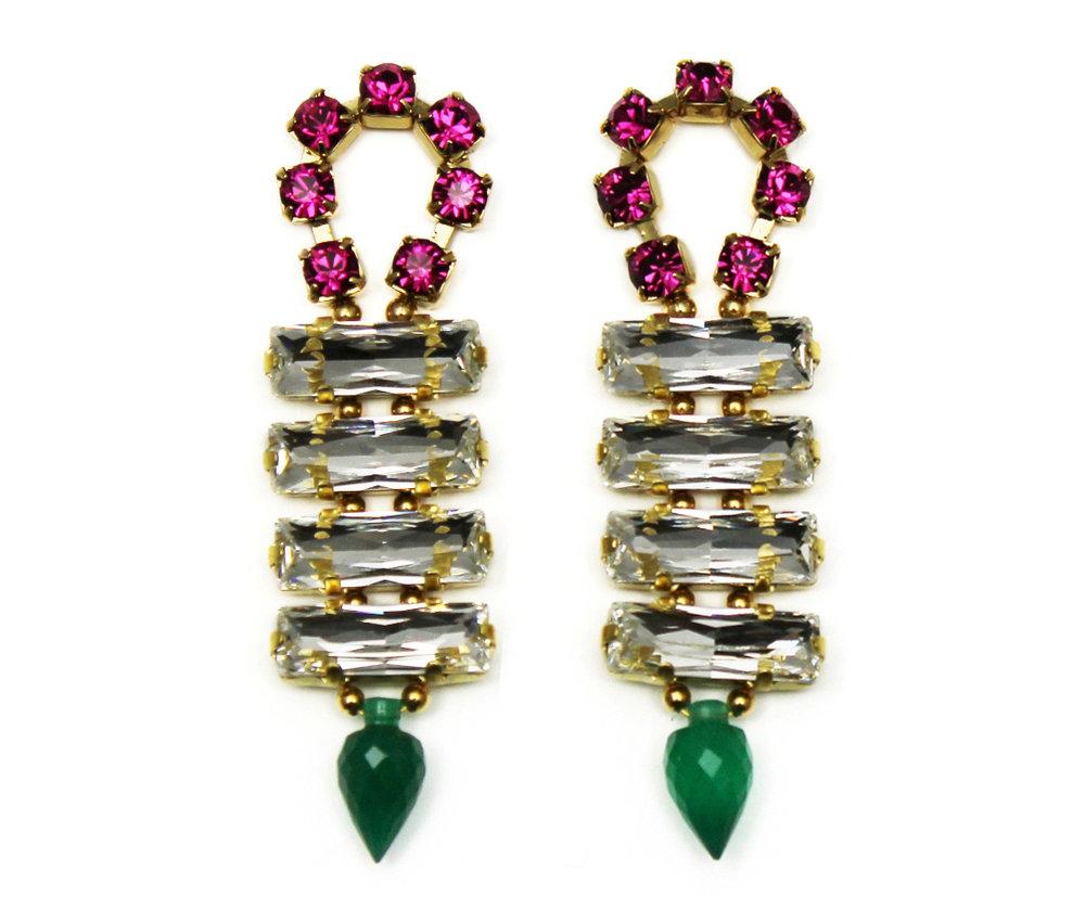 128C - Long Spiked Earrings (CrystalGreen).jpg