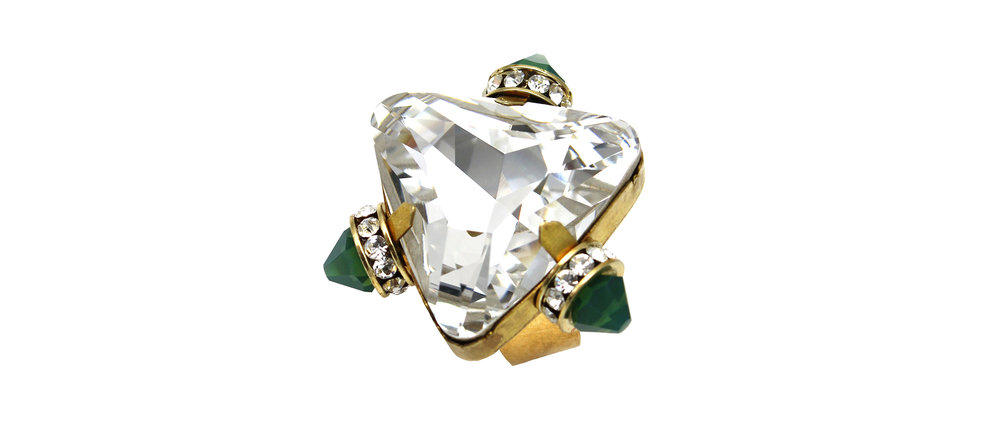 170CG Triangle Triple-Spike Ring - CrystalGreen.jpg