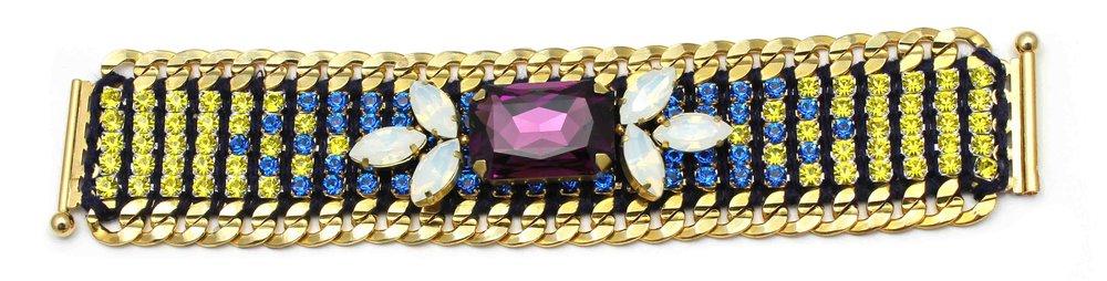 146BY Tropicana Bright 2-Tone Crystal Bracelet - BlueYellow.jpg