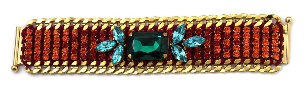 146OR Tropicana Bright 2-Tone Crystal Bracelet - OrangeRed.jpg