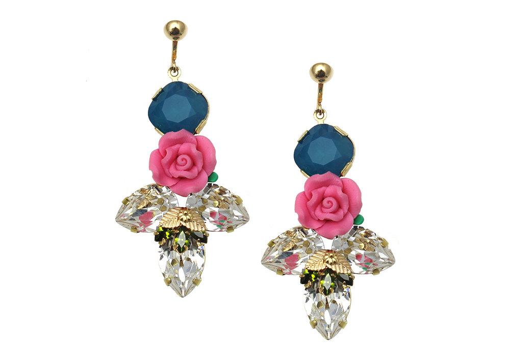 163BC Triple Pear Botanical Earrings with Figleaf - BlueCrystal.jpg
