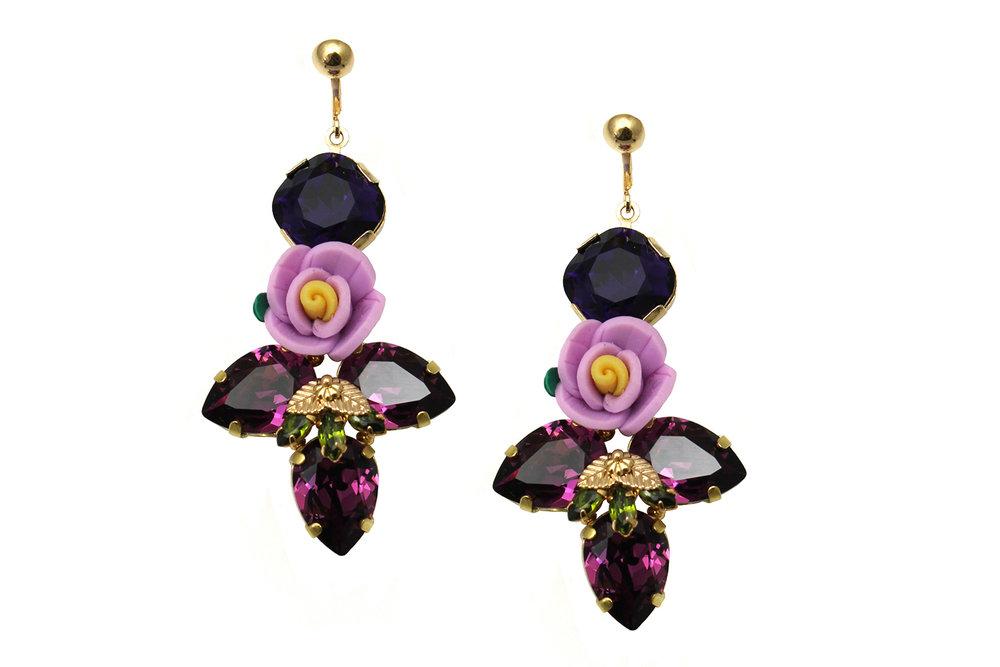163VP Triple Pear Botanical Earrings with Figleaf - VioletPurple.jpg