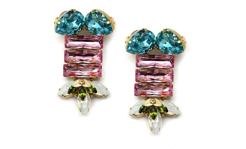 164AR Triple Rectangle Earrings with Figleaf - AquaRose.jpg
