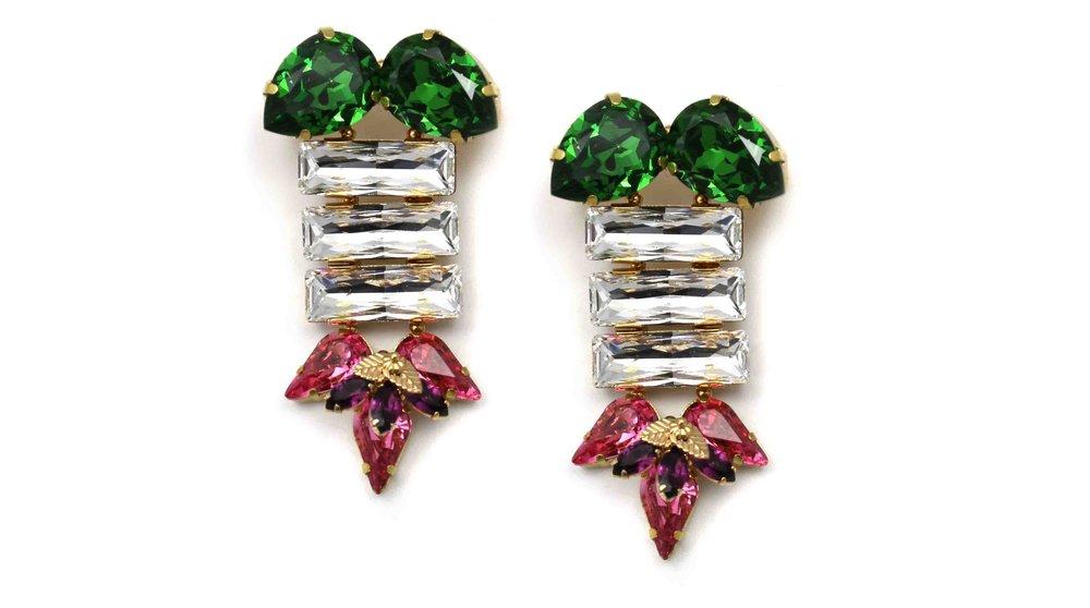 164FC Triple Rectangle Earrings with Figleaf - FernCrystal.jpg