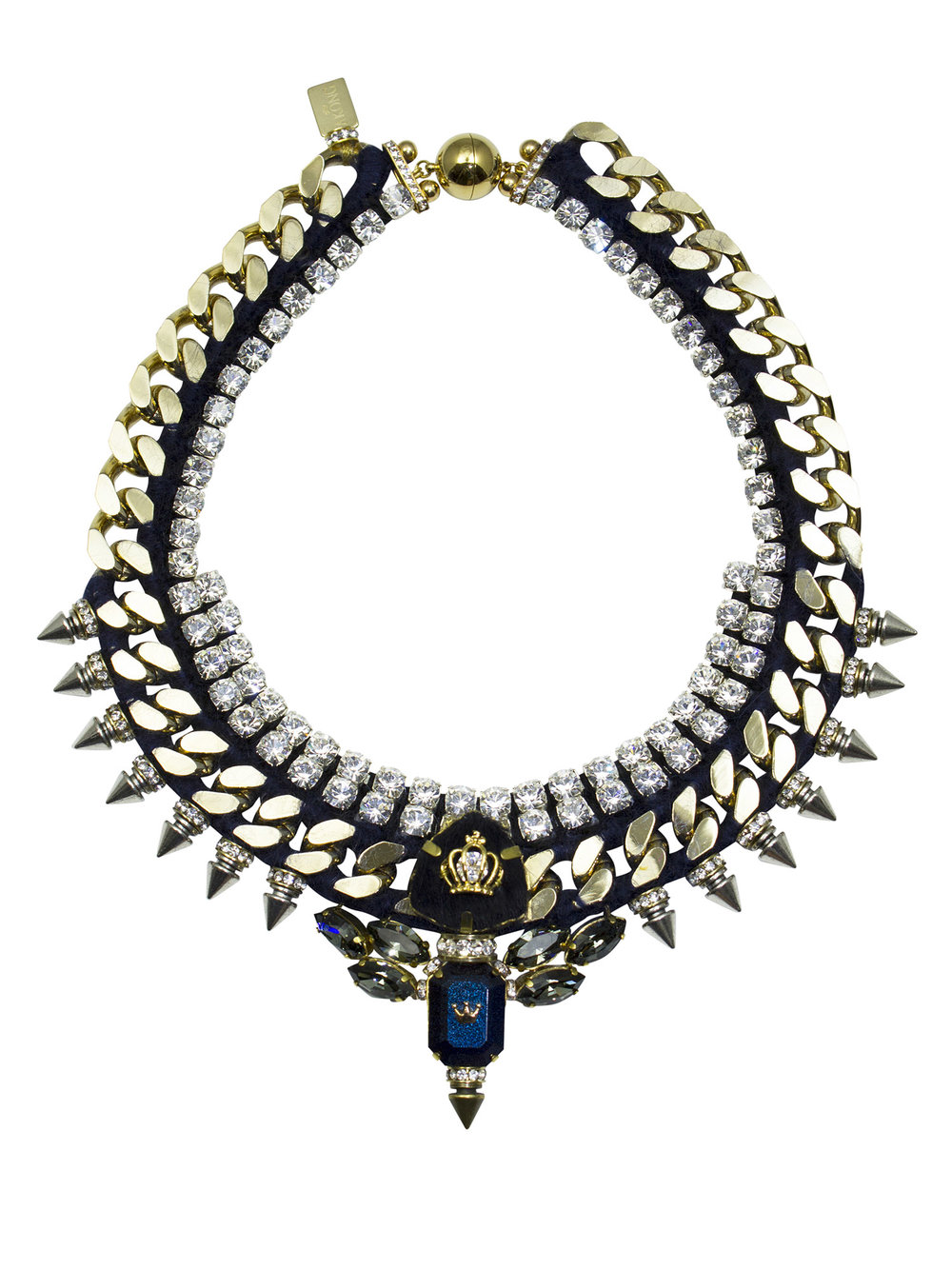 213N Navy Aviator Spiked Necklace.jpg