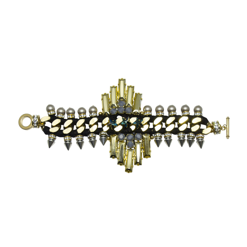 222B Grey & Gold Aviator Spiked Bracelet.jpg