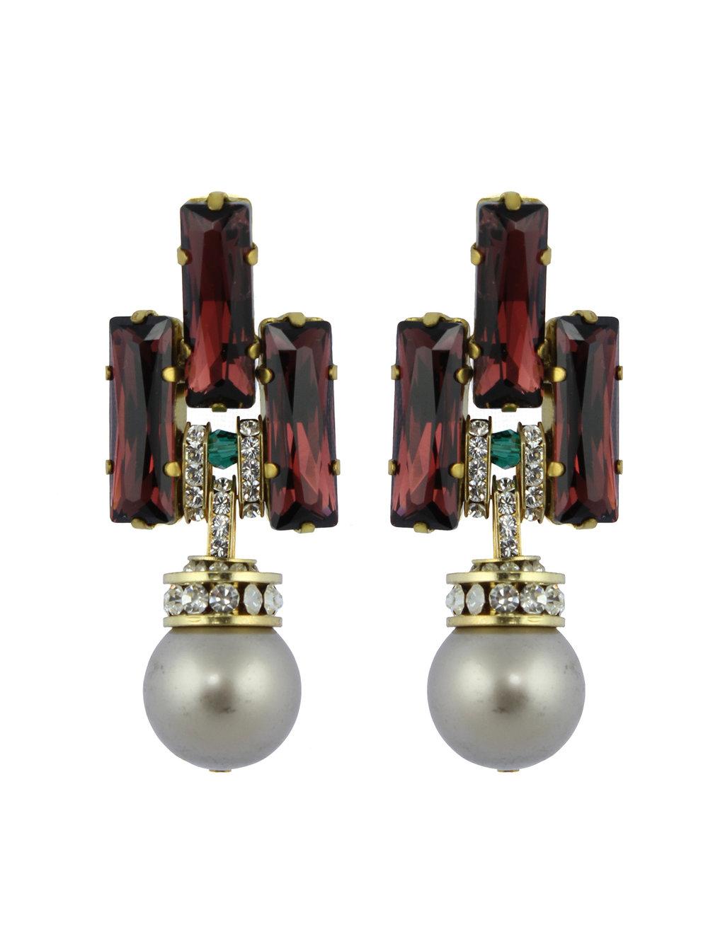 241E Burgundy Deco Platinum Pearl Drop Earrings.jpg
