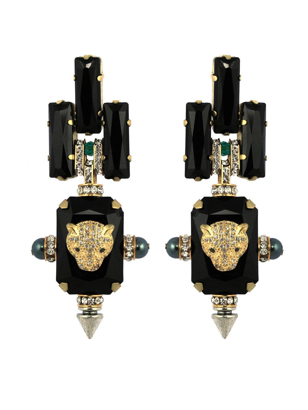 228E Black Deco Spiked Drop Earrings.jpg