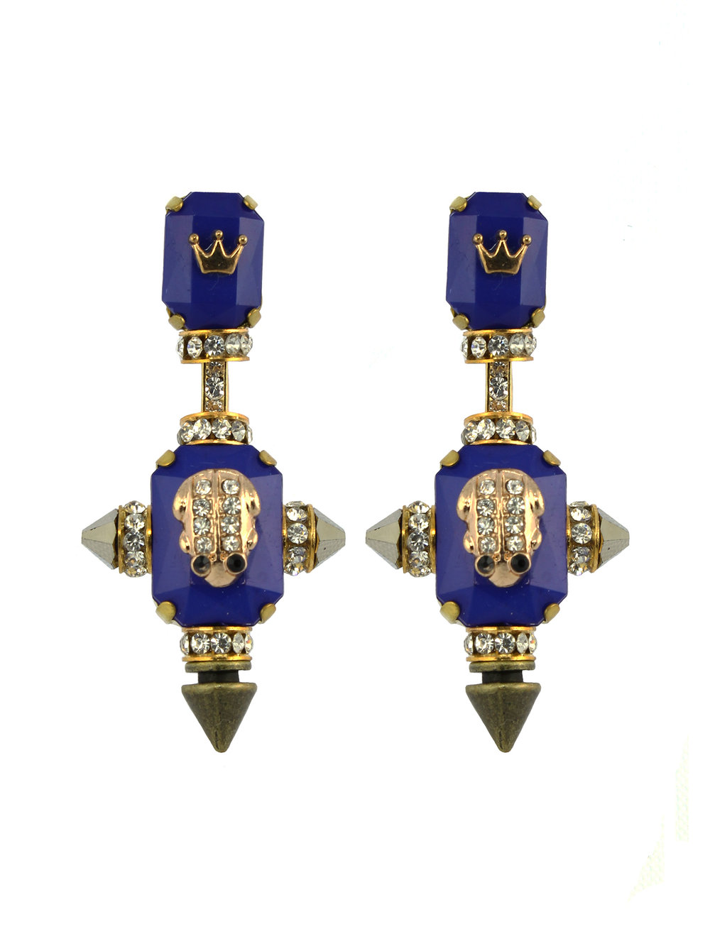 230E Blue & Gold Military Drop Earrings.jpg