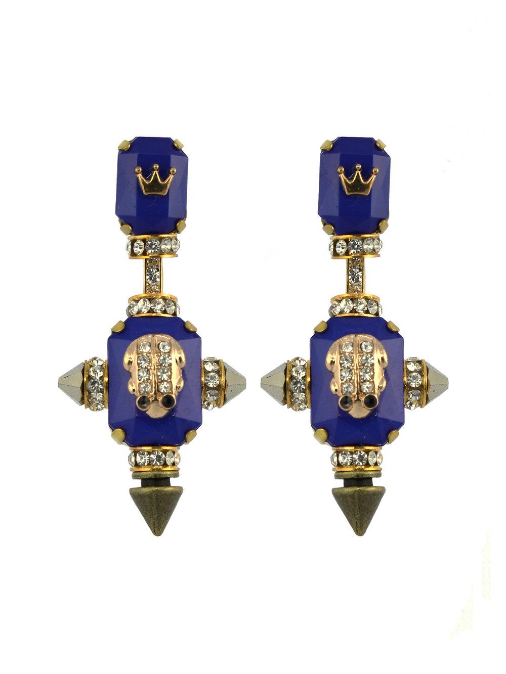 230E Blue & Gold Military Drop Earrings.jpg