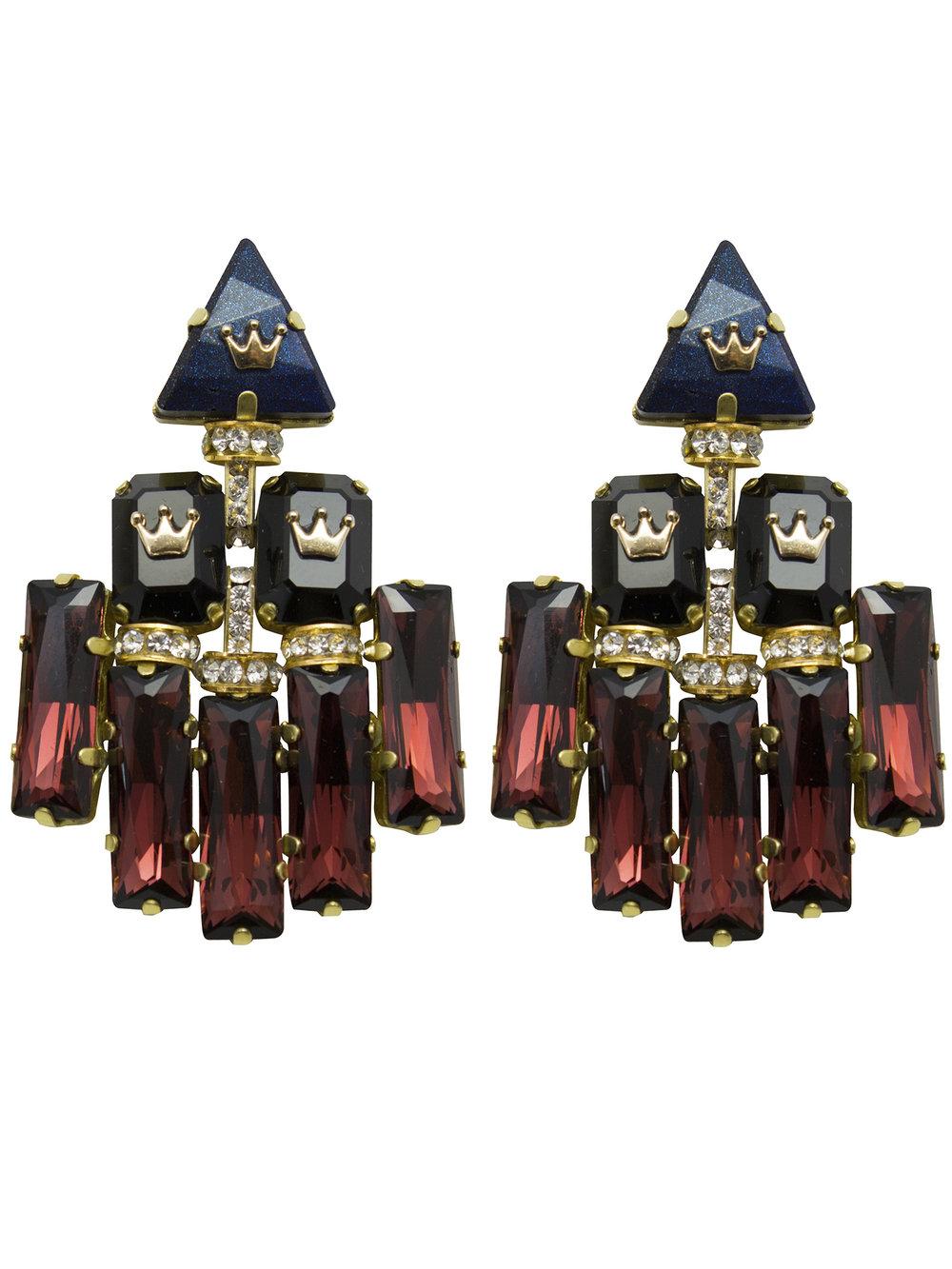 236E Blue Triangle Double Rectangle Deco Earrings.jpg