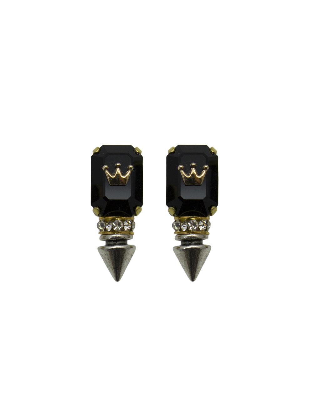 238E Black Rectangle Spiked Stud Earrings.jpg